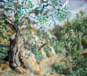 """""""Cliff Point"""", a view of the Long Forest painted by Norval Watson, oil on wood panel, 1989."""
